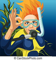 illustration., 婦女, 矢量, 略述, 潛水者, 特寫鏡頭, 愉快, 手, 卡通, 很好, 提高, 徵候。, 海報