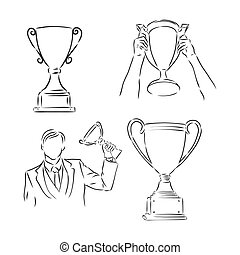 illustration., 杯子, 人, winner., sketch., 插圖, 矢量, 藏品 手, winner's, 略述