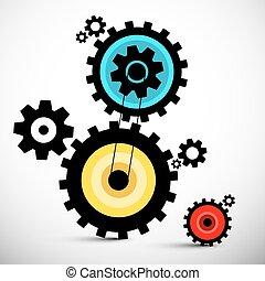 illustration., 矢量, 齒輪, 鮮艷, cogs.