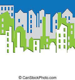 illustration., 矢量, cityscape.