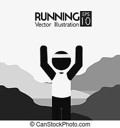 illustration., 運動, 設計, 矢量