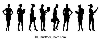 illustration., 集合, 從事工商業的女性, 黑色半面畫像, 矢量, 不同, poses.