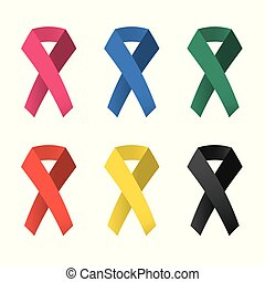illustration., 顏色, 6, 彙整, 矢量, ribbons., 意識