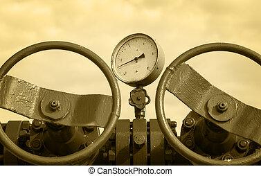industry., 概念, 气体, wellhead., 油