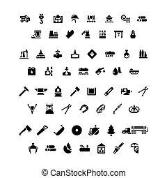 industry., 集合, ico, 圖象, metallurgical, 油, 穩步前進, 鋸木厂
