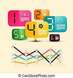 infographic, 六, 鮮艷, 圖象, 圖表, 標籤, -, 紙, 步驟, 矢量, 設計