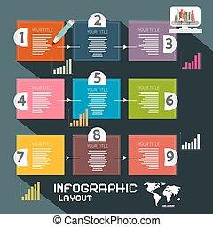infographic, 矢量, 布局, infographics, 圖, 紙, arrows., template.