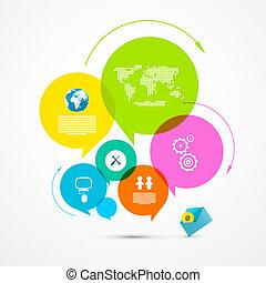 infographic, 网, 布局, 鮮艷, -, 紙, 矢量, 樣板, 環繞