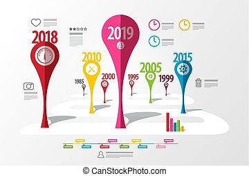 infographic, 鮮艷, 事務, 活動時間表, 創造性, 矢量, years., laout., 技術, roadmap., 樣板