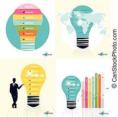 infographic, illustration., 富有色彩的光, 顯示, 商人, 紙, 矢量, 設計, infographics, 燈泡, template., 樣板