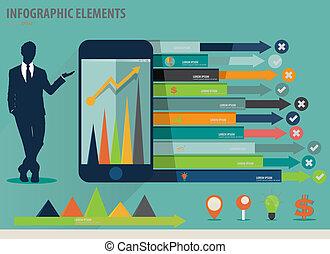 infographic, touchscreen, 鮮艷, 顯示, -, 插圖, 紙, 矢量, 設計, 樣板, infographics, 設備, 商人, 樣板