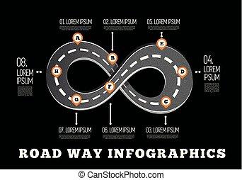 infographics., 設計, 路, 方式
