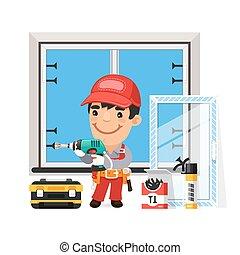 installs, 新, 窗口, 木匠