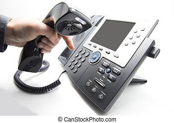ip, 撥, keypad, 電話
