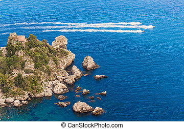 isola, 空中, 島, bella, italy:, 看法