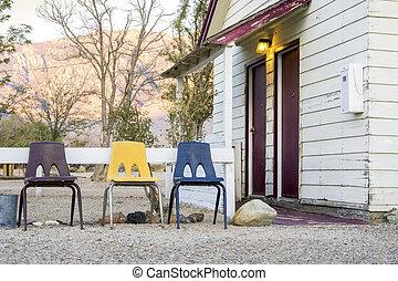 it., 椅子, 房子, 村舍, 3, 前面, 小