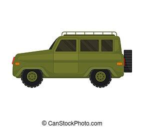 jeep., 插圖, 白色, 軍事, 背景。, 卡其布, 矢量