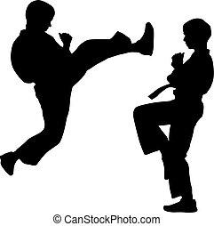 karate., 運動, 黑色, 黑色半面畫像, 矢量, illustration.