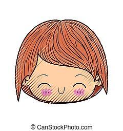 kawaii, 男孩, 頭, 黑色半面畫像, 上色, 很少, 向上, 粉筆, 面部, 關閉, 表示, 幸福
