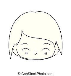 kawaii, 男孩, 頭, 黑色半面畫像, 很少, 向上, 面部, 單色, 關閉, 表示, 幸福