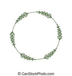 laconic, 脫落, 樣板, jewelry., 時髦, 葉子, leaves., 框架, 插圖, 最簡單派藝術家, 矢量, 標簽, 設計, 綠色, 雅致, 棍, 末梢, border., wreath., 輪, 標識語