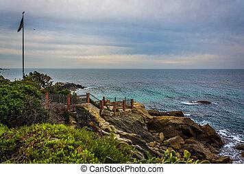 laguna, 太平洋, 公園, 街道, 紅寶石海灘, 看法