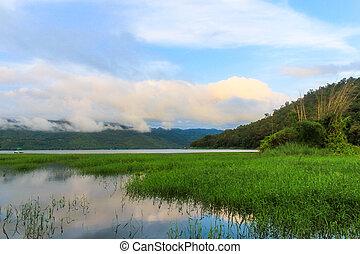 lake., 山, 看法