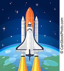 launch., 矢量, 插圖, 火箭, 空間