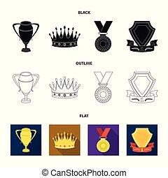 laureate, 鑽石, 獎章, 王冠, 風格, 符號, 集合, 矢量, 卡通, 股票, 簽署, web., 銀色的杯子, 紅色, 獎品, 戰利品, 圖象, ribbon., 金, 插圖, 彙整