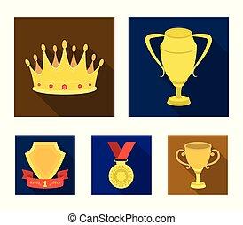 laureate, 鑽石, 獎章, 王冠, 風格, 符號, 集合, 矢量, 套間, 股票, 簽署, web., 銀色的杯子, 紅色, 獎品, 戰利品, 圖象, ribbon., 金, 插圖, 彙整