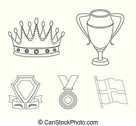 laureate, outline, 鑽石, 獎章, 王冠, 風格, 符號, 集合, 矢量, 股票, 簽署, web., 銀色的杯子, 紅色, 獎品, 戰利品, 圖象, ribbon., 金, 插圖, 彙整