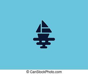 logotype., 創造性, 矢量, 海, 標識語, 船, 小船