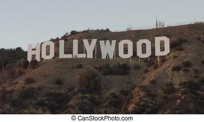los, 好萊塢, 加利福尼亞, aerial:, 簽署, 傍晚, angeles