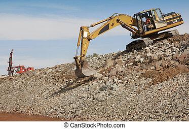 machine., 挖掘機, 操練