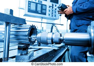 machine., 鑽孔, 工業, 操練, 操作, cnc, 人