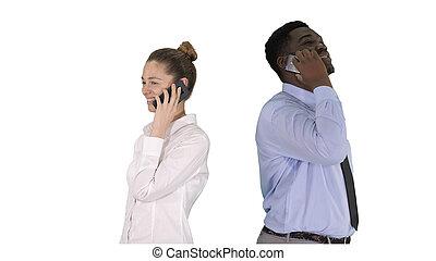 makin, 非洲的年輕人, 站立, 背, 婦女, 美國人