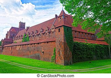 malbork, 波蘭, 城堡, 牆壁