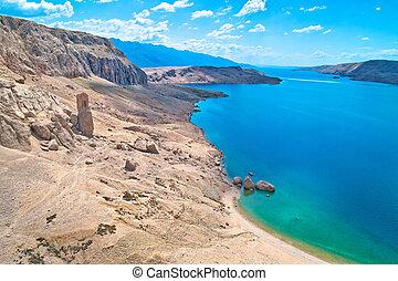 metajna, 風景, beritnica, 著名, pag., 惊人, 沙漠, 海灘, 島, 石頭