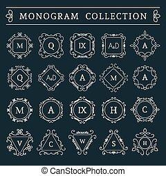 monogram, 葡萄酒, 矢量, 集合