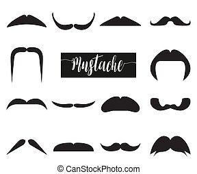 mustache., 插圖, 矢量, 黑色, 彙整, 行家