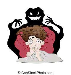 nightmare., 矢量, 蠕動, 受驚, 陰影, 被隔离, 懼怕, 床, 男孩, 黑暗, 插圖, white., monster.