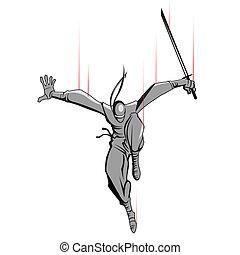 ninja, 攻擊, 劍
