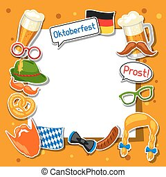 oktoberfest, 節日, 照片框架, 設計, 布斯, 黨, stickers.