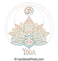 om, 花, 符號, 蓮花, 概念, 印第安語, 瑜伽