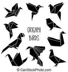 origami, 鳥, 黑色, 10, 黑色半面畫像, 彙整, 漂亮