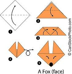 origami, fox.