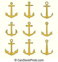 outline, 圖象, collection., set., 象征, 船舶, 陸戰隊, 錨