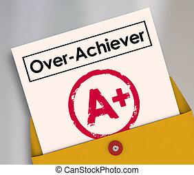 overachiever, 等級, a+, 得分, 加上, 報告, over-achiever, 評估, 頂部, 卡片