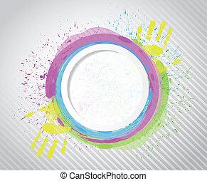 paint., 環繞, 設計, 插圖, 墨水