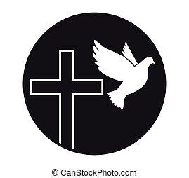 peace., 神圣, 符號, religion., vector., 教堂, 飛行, 鴿, spirit., logo., cross.
